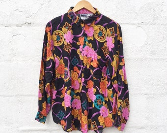 90's Floral Rayon Blouse