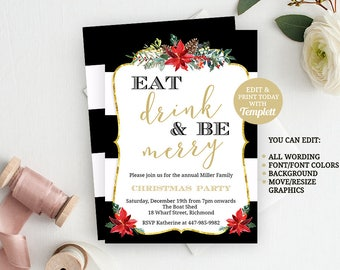 Christmas Invitation Template, Christmas Invitation, Christmas Party, Holiday Party, INSTANT DOWNLOAD, Printable Invitation, Party Invite