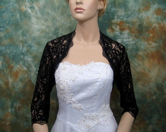 3/4 sleeve black lace bolero jacket bridal bolero bridal jacket bridal shrug wedding bolero wedding jacket wedding shrug