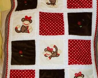 """Personalized Baby Blanket Appliqued, Minky """"Sooo Lovable LIttle Girl  Sock Monkey"""""""