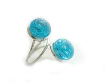 Ocean Blue Glass Ring, Lampwork Ring, Murano Glass Ring, Double Beads Ring, Handmade Glass Ring, Statement Ring