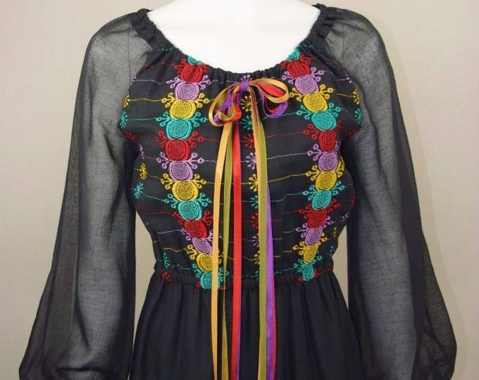 Vintage 1970's YOUNG EDWARDIAN Peasant HiPPiE BoHo Rainbow Embroidered Maxi Dress size M