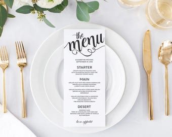 Wedding Menu Cards Template Printable Wedding Menu Card  Dinner Menu Template - Instant Download, Editable Menu Template, DIY Wedding Menu