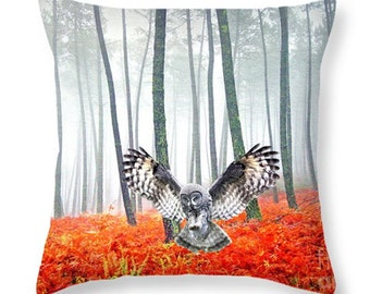 Nature Throw Pillow, Great Gray Owl, Accent Pillow, Owl Pillow, Pillow Cushion, Home Decor, Couch Pillow, Wildlife Decor, Orange and Gray
