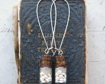 Keep Taking The Medicine - Tiny Glass Bottles and Pills Antiqued Silver Tone Dangle Earrings with Gift Box