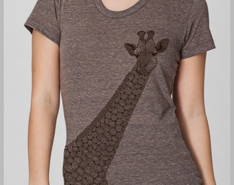 Long Neck Giraffe - is there any other type - Womens Hand Screenprinted  T Shirt American Apparel Tee S, M, L, XL  10 COLOR Choices