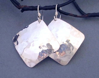 Hammered Sterling Silver Earrings Artisan Handmade Jewelry Square Dangle Earrings Modern Metal Jewelry