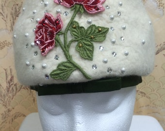 1960s Don Anderson Beaded Floral  Wool Hat