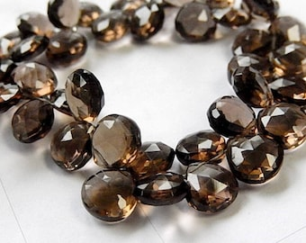 Smokey Quartz Gemstone Bead, Semi Precious Gemstone. Natural Gemstone Heart Briolette 9.5 mm. Pair or NonMatching 1 to 9 Briolettes (53qz1)