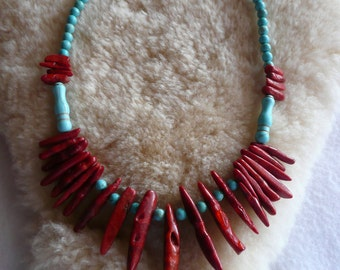 Southwestern Turquoise and Branch Coral Spike Necklace