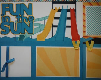 2 Fun in the Sun Waterslides 12x12 Premade Scrapbook Pages for your family and vacation