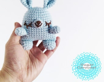Small Pastel Blue Bunny - handmade crochet cute cotton soft stuffed amigurumi rabbit plush chew toy animal easter baby newborn photo prop