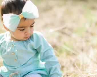 The Jasmine Headband with Mint tulle bow - Tulle Bow Headband - Baby, Children Tulle Headband - Baptism, Flower Girl accessories