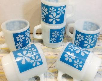 Set of 6 - 1960's Anchor Hocking - Fire King Coffee Mug - Rhythmic Flower- Blue - Milk Glass (6 mugs available)