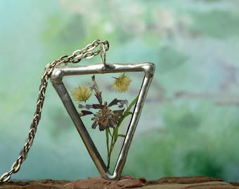triangle terrarium necklace, Planter Rustic geometric pendant, mom gift, dried flower necklace, gift for wife, glass botanical jewelry