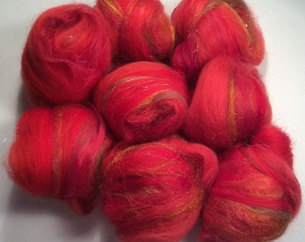 Rose rouge - handcarded batt-set 1,8 oz