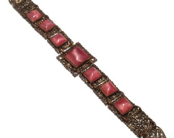 Absolutely Gorgeous Antique Filagree Pink Stone Link Bracelet
