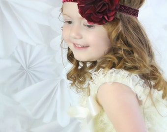 Burgandy Glitter Headband with Satin & Tulle - Frosted Cranberry -  Baby Infant Toddlers Girls Women Maroon