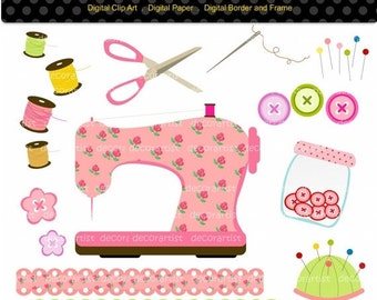 ON SALE Sewing clipart, sewing machine craft digital clipart for scrapbooking, button, INSTANT Download