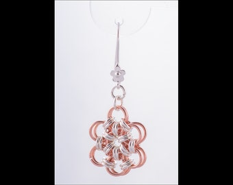 Japanese Flower Chain Maille Earrings with sterling silver