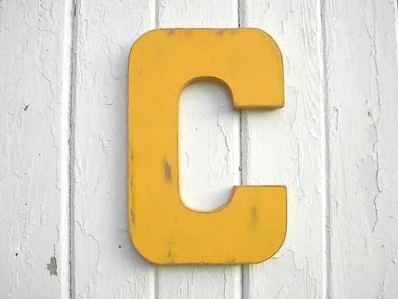 Wooden Wall Letters Modern Block style 12 C Kings Gold