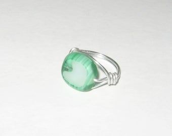 Green and White Glass Silver Wire Wrapped Ring