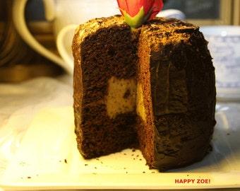 Vegan Mini Mocha Chocolate birthday cake.