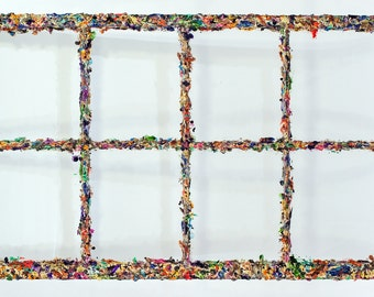 1930s Antique Window frame- Jackson Pollock-inspired wall sculpture, chandelier, large space art, summer colors