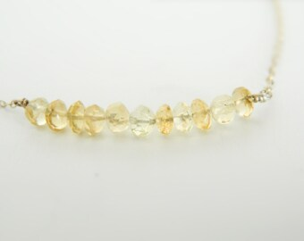 Citrine Necklace, Crystal Necklace, Citrine Jewelry, Citrine Stone, Citrine Gemstone, November Birthstone, Minimal Necklace
