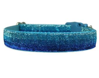 "Glitter Dog Collar 1"" Ocean Blue Buckle or Martingale Dog Collar"