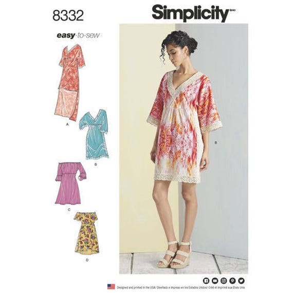 Sewing Pattern For Misses Summer Dresses Simplicity Pattern 8332 V
