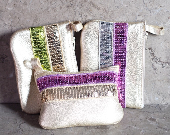 Sequin Ribbons on Gold Leather Zip Pouch