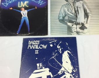 "Lot of Barry Manilow records ""live"" ""barry"" and ""ii"" vinyl lp record with sleeves"