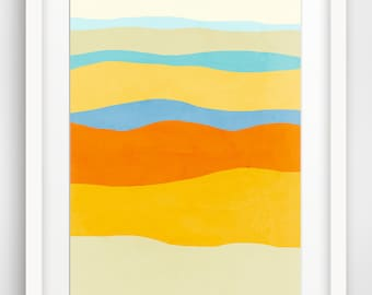 Colorful Large Abstract Art Print, Mid Century Art, Abstract Landscape Print, Minimalist Poster, Yellow Blue Art