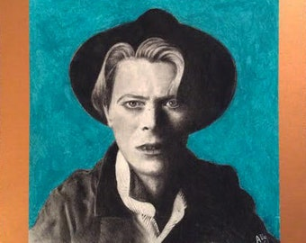 Original Charcoal Pencil and Oil Pastel David Bowie drawing