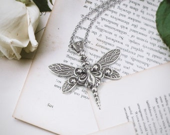 Sky Dancer - Dragonfly Necklace Silver, Dragonfly Pendant, Insect Jewelry, Dragonfly Gift for Her, Dragonfly Lover, Dragonfly Charm, Skyward