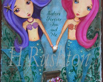 Mermaid Print - Mermaid Art -Children Decor- Sisters Art Print- Gift for Sister -Mermaid Decor- Print Size 8x10