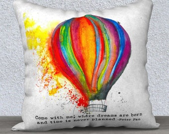 """Hot Air Balloon Art Pillow Cover 17x17""""-Colorful Watercolor Art Pillow with Inspirational Saying Perfect for Your Watercolor Art Decor"""