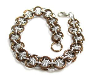 Bronze Chain Maille Bracelet - Bronze Helm Chainmaille Bracelet - Chain Bracelet
