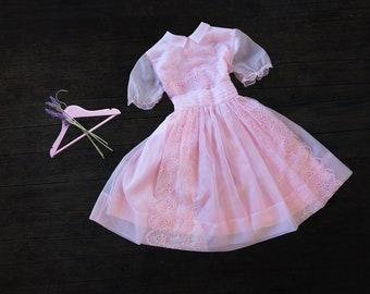 Girls Vintage Sheer Pink Dress - 1960s - size 8