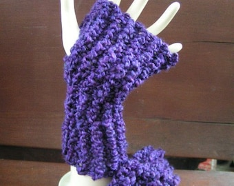 Gloves Fingerless Wristlets Warm and Cozy Purple UNISEX Select a Size