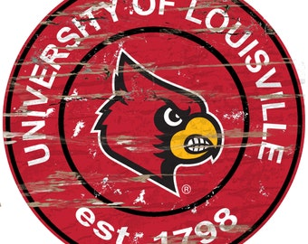 "NCAA University of Louisville Round Distressed Established Wood Sign 24"" Diameter"