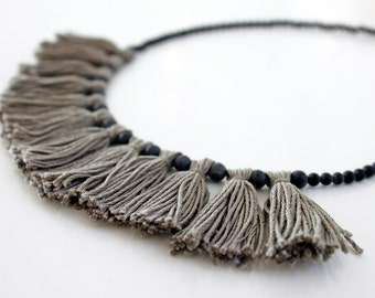 Charcoal Tassel Necklace, Stone Bead Necklace, Tassel Jewelry, Statement Jewellery, Grey Necklace Mothers Day Gift Gifts for Her, Boho Style