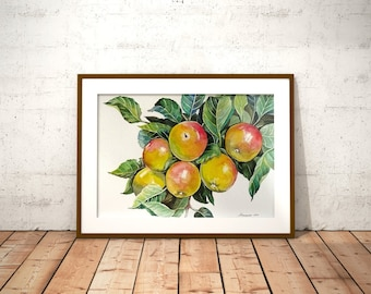 Apples on tree Fruit watercolor Apple painting Original watercolor painting Kitchen wall art Fruit painting