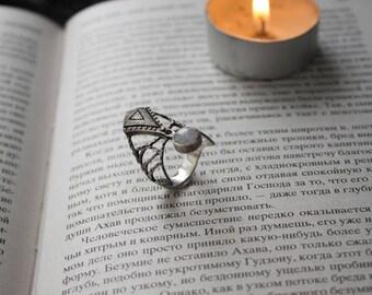 Silver contemporary rings,moonstone silver ring,modern silver ring,gothic silver moonstone ring,Egyptian silver ring,silver ring white stone
