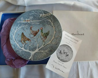 Haviland Collectible plate, Three French Hens, 1972