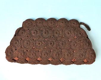 Vintage 1940's Large Brown Crochet Clutch Purse/WW2 Era Clutch Purse/40's Chocolate Brown Crochet Purse