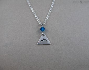 Tiny Mountain Charm Necklace - Silver