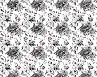 Black and white Rose floral craft patterned vinyl sheets heat transfer/HTV or Adhesive Vinyl  flower pattern vinyl  HTV2237