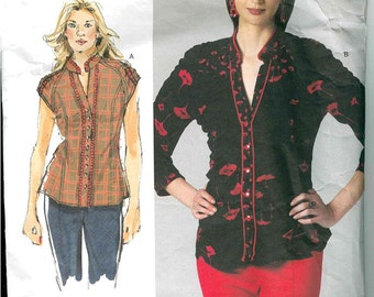 Vogue V1260 Today's Fit by Sandra Betzina Misses Shirred Effect Semi Fitted Blouse.